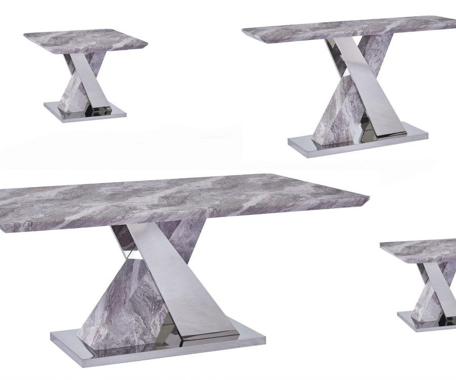 White Faux Marble Coffee Table Set: Coffee Table