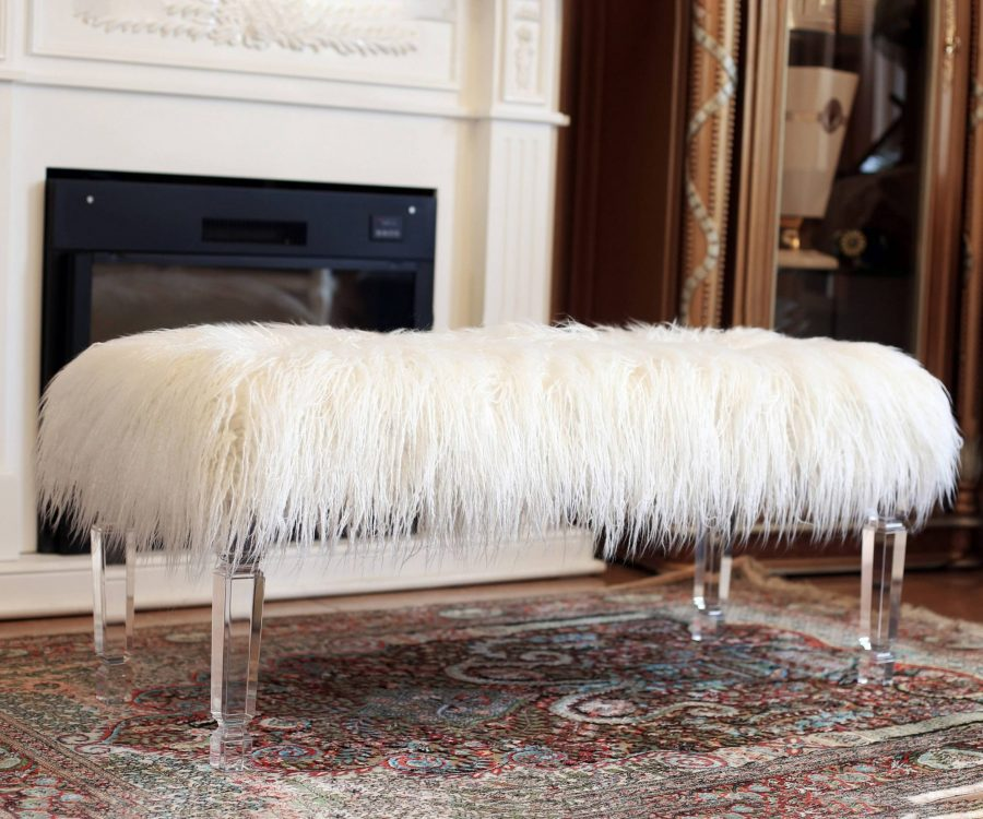 Fur Bench with Acrylic Legs. 2 Colors to Choose: White or Pink