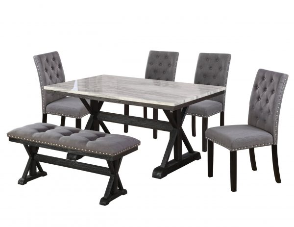 Dining Table w/ Faux Marble Top|4 Upholstered Side Chairs|