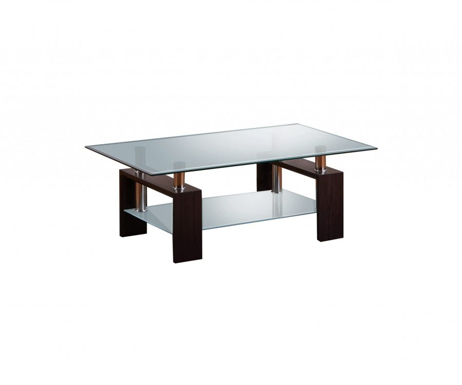 Coffee Table with Glass Top and Shelf in Espresso Finish