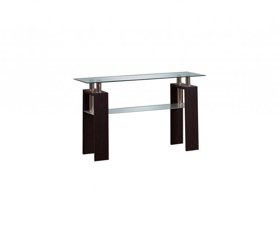 Console Table with Glass Top and Shelf in Espresso Finish