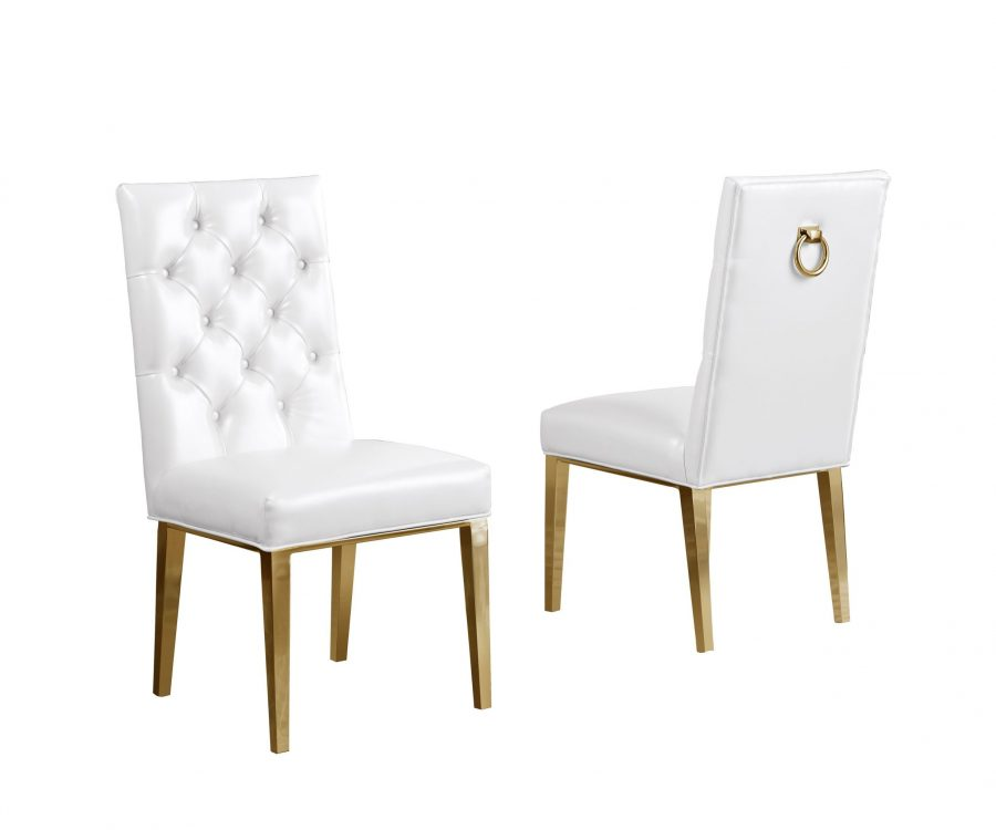 White Faux Leather Tufted Ring-Back Chair with Chrome Gold Legs - Set of 2 
