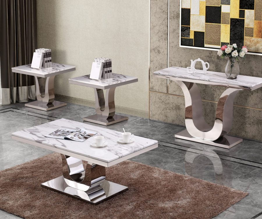 Classic 4pc Set: Marble Top Coffee Table End table(s)