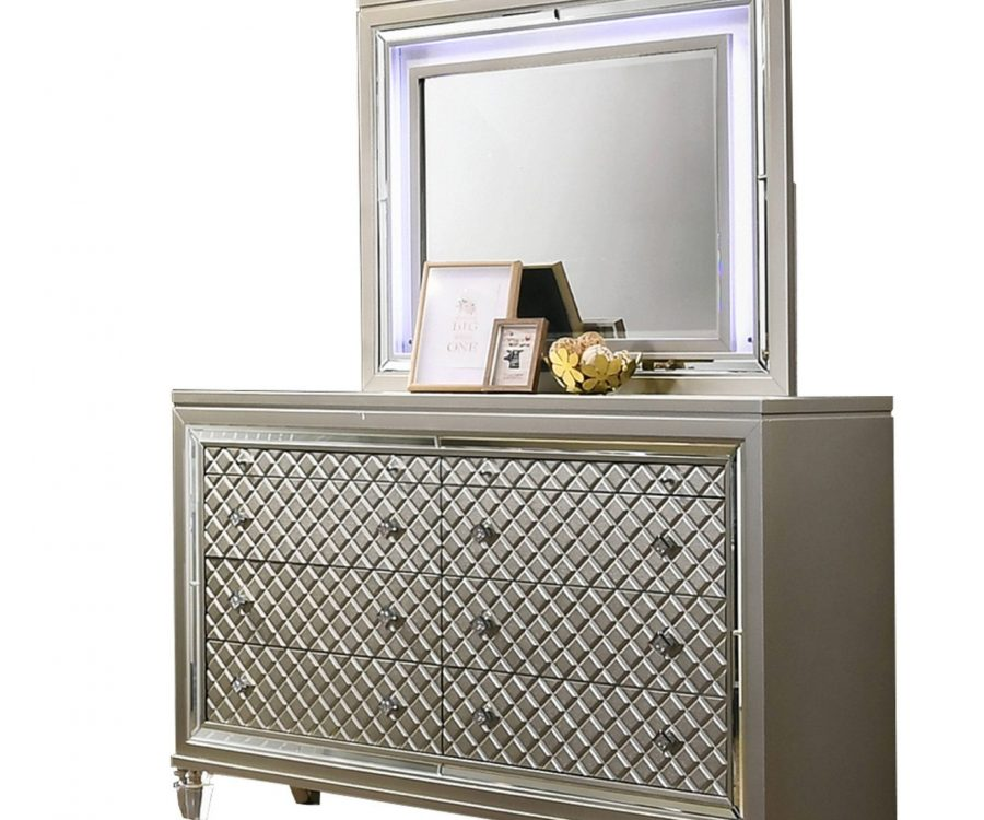 Dresser and Mirror Set: Dresser with 6 Big Drawers and 2 Jewelry Drawers