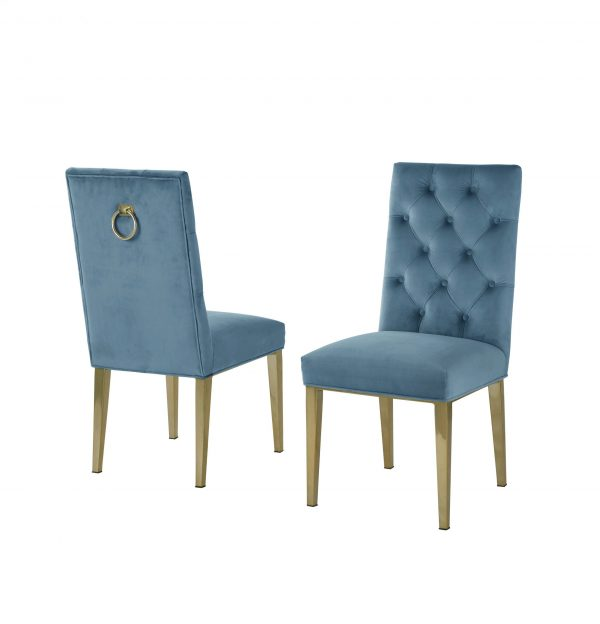Stainless Steel Gold Base and Velvet Tufted Side Chairs in Chrome Gold Legs