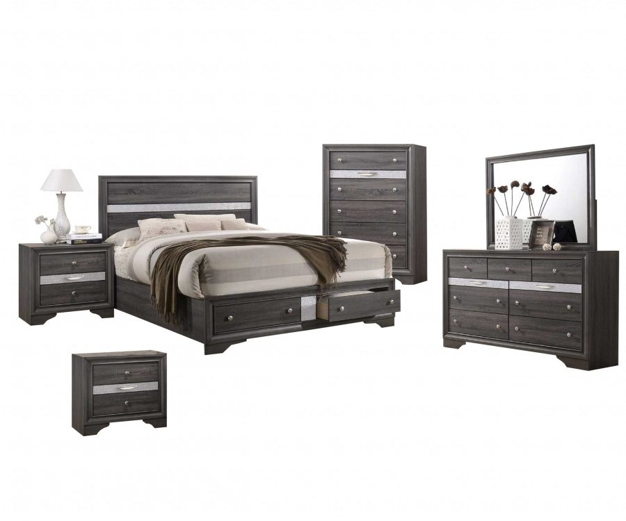 David 6-Piece Bedroom Set w/ Chest and Two Nightstand - Full