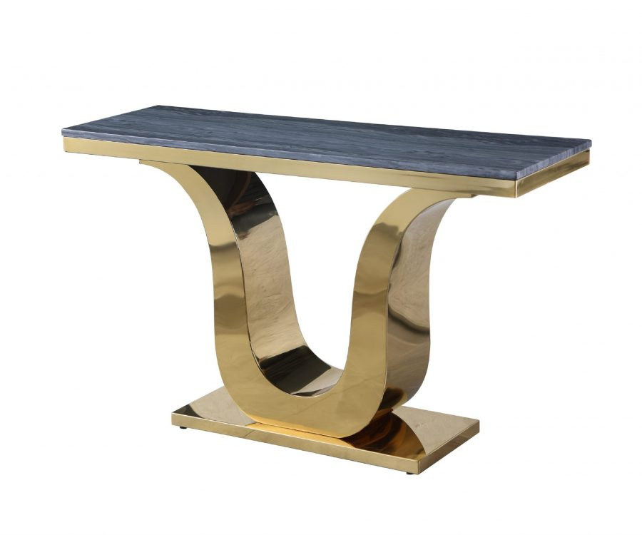 Marble Console Table with Stainless Steel Gold Base