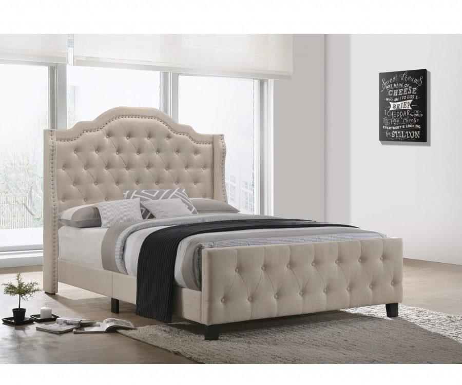 Beige Linen Tufted Panel Bed - Queen