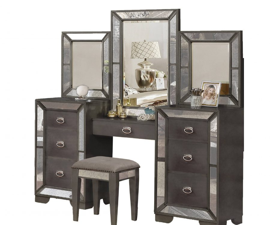Vanity Table with 6 Drawers and 1 Jewelry Drawer. 1 Main Mirror and 2 Mirrors on The Side