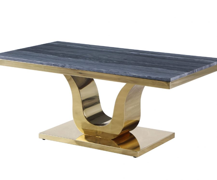 Marble Coffee Table with Stainless Steel Gold Base
