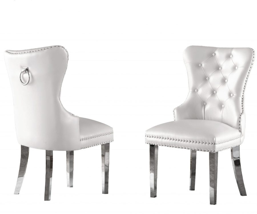 White Faux Leather Tufted Ring-Back Chair with Stainless Steel Legs - Set of 2||