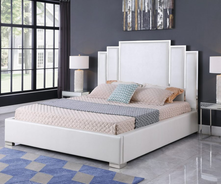 White Faux Leather Uph. Platform Bed