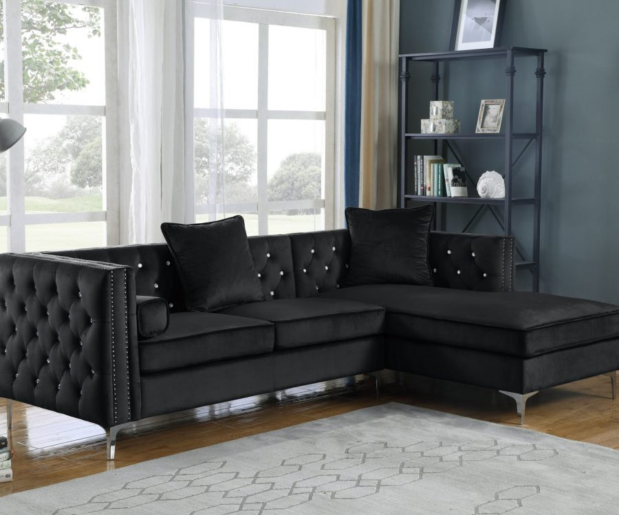 2 Piece Velvet Sectional with Tufted Buttons|Square Pillows