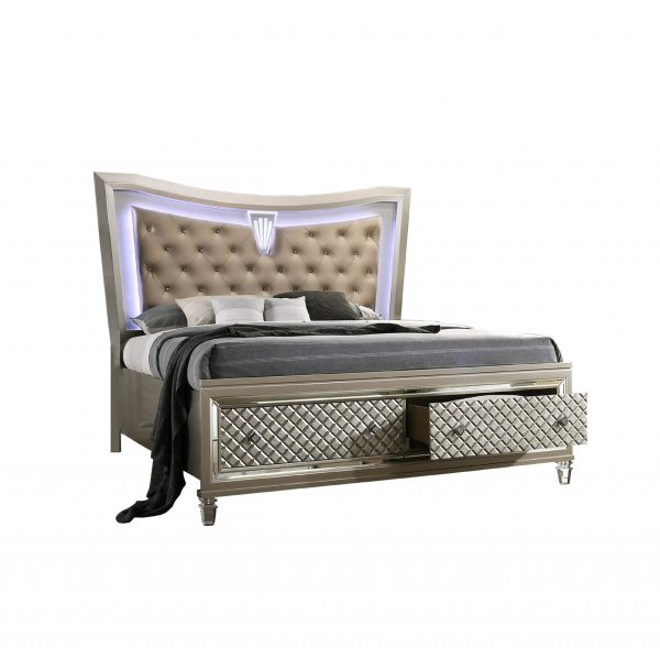 Platform Bed with Tufted Buttons