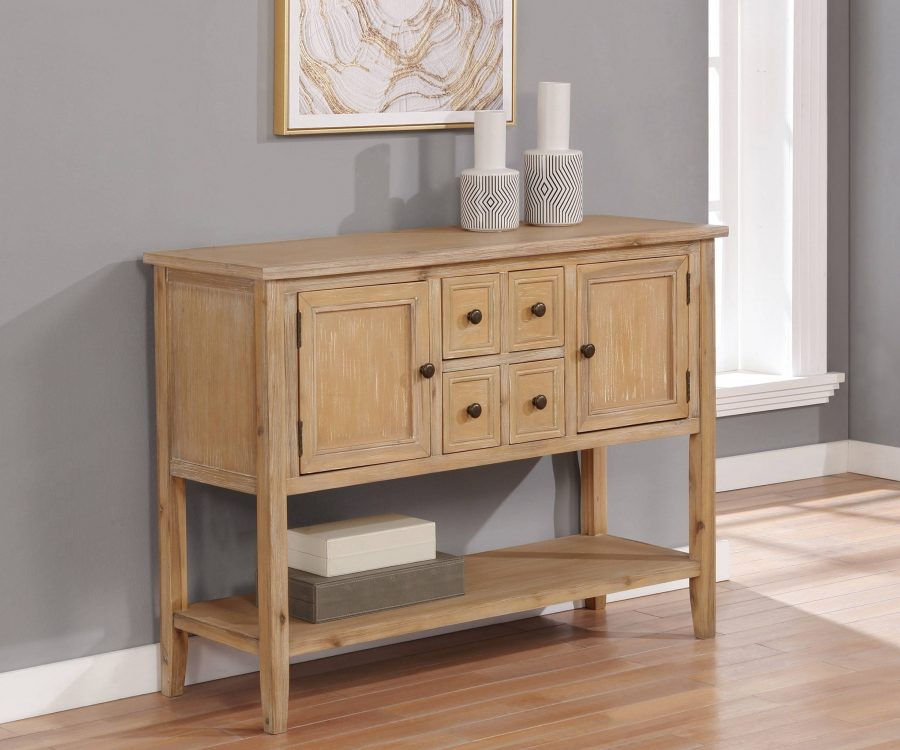 Wood Server with 4 Drawers