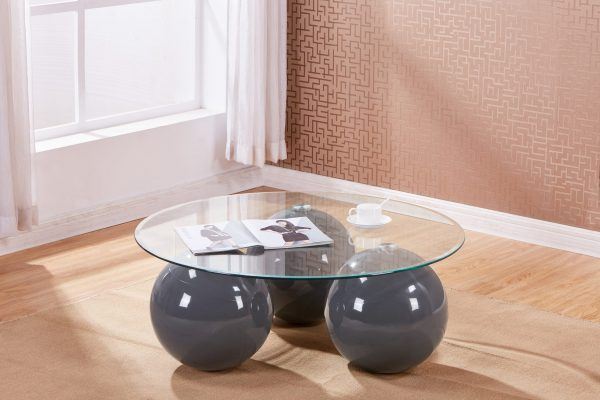 High Gloss Lacquer Coffee Table with Glass Top (Available in grey|Black