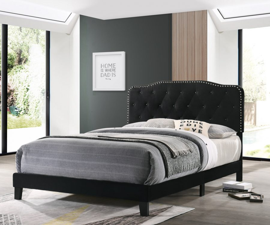 Black Velvet Uph. Panel Bed with Silver Nailhead - Twin