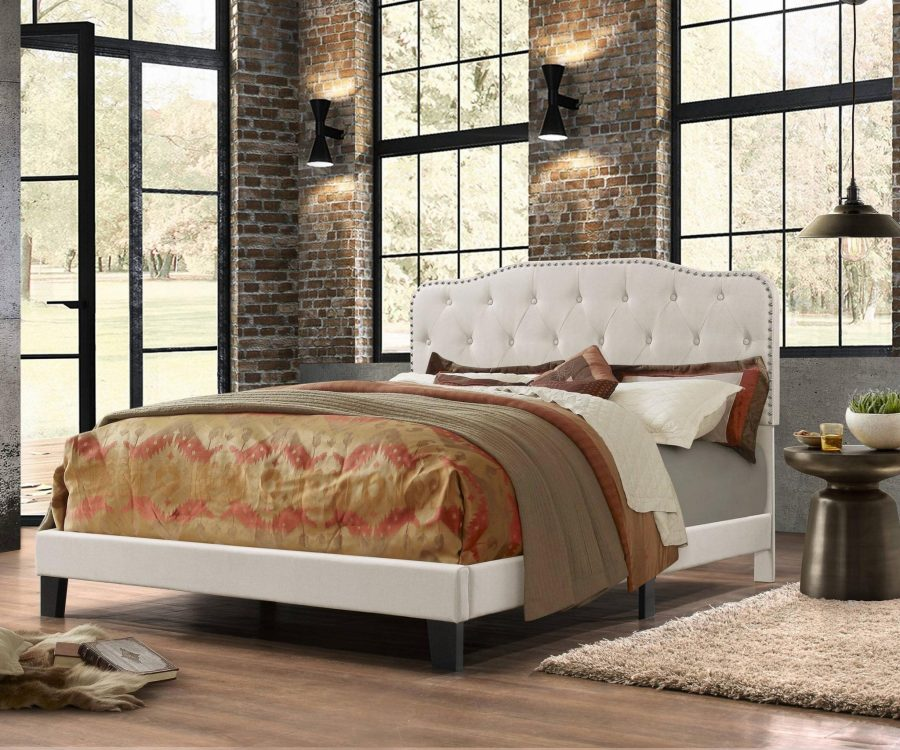 Uph. Panel Bed in Velvet Fabric with Tufted Buttons and Nailhead Trim. 2 Colors to Choose: Smoke grey or Fog Beige